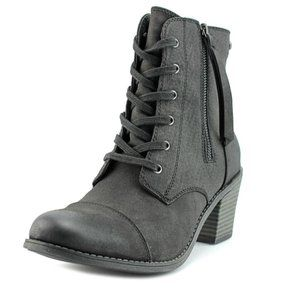 Roxy Lace-Up Black Calico Moto Ankle Boots